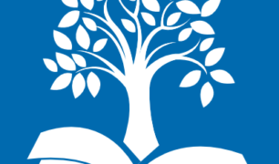 Tree sprouting from an open book on a blue background