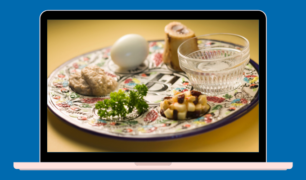 Passover Seder Plate on a computer screen